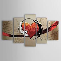 peintures à l'huile Ensemble de 5 toiles peintes à la main amants abstraits cardiaques modernes prêts à accrocher