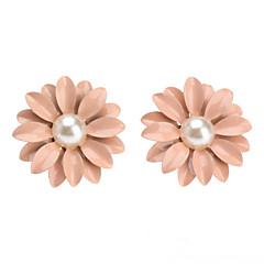Linda rosa Pérola / Brincos de cerâmica pequena margarida Flores