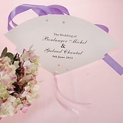 Personalizado Pérola ventilador de mão de papel - Flor-de-rosa (conjunto de 12)
