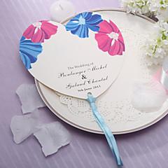Personalizado em forma de coração ventilador de mão de papel - linda flor (conjunto de 12)