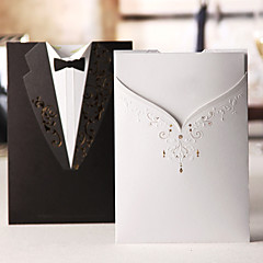 Wedding Invitation Classic Gown & Tux On Different Side(Set of 50)