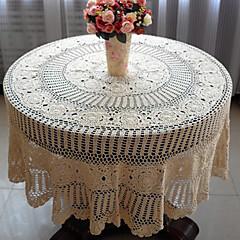 63 inch kézzel horgolt bézs vintage megjelenés tabecloth