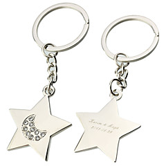 Personalized Star With Rhinestone Key Ring (Set of 6)