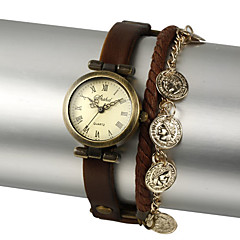 Faux Leather Round Quartz Movement Watch More Colors