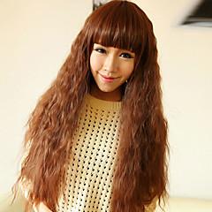Uten lokk Cute Long Curly høykvalitets syntetisk Lys Gylden Brun Full Bang Hair Wig