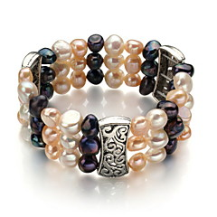 """7""""A7-8mm Triple-stand Three color freshwater pearl elastic  Bracelets"""