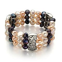 """7 """"A7-8mm Triple-ergono tre colori perla d'acqua dolce bracciali elastici"""