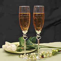 Personalized Double Heart Design Toasting Flutes