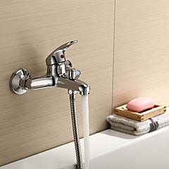 Zeitgenössisch / Modern Badewanne & Dusche Wasserfall with  Keramisches Ventil Einzigen Handgriff Zwei Löcher for  Chrom , Duscharmaturen