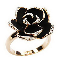 Women's Statement Rings Adjustable Open Vintage European Costume Jewelry Rhinestone Alloy Flower Rose Jewelry For Party Daily Casual