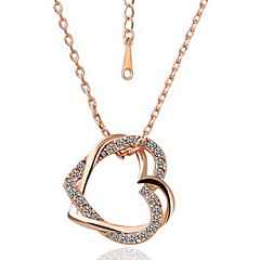 Delicate 18K Gold Plated Alloy With Shining Crystal Heart-shaped Necklace