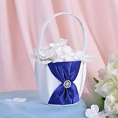 cesta de flores em cetim com strass e cinto (mais cores) cesta de flor menina