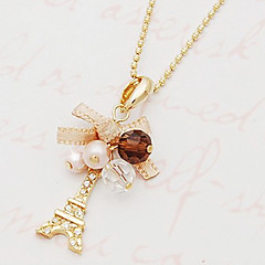 Women's Pendant Necklaces Bowknot Tower Imitation Diamond Alloy Fashion Luxury Personalized Costume Jewelry Jewelry For Party Daily