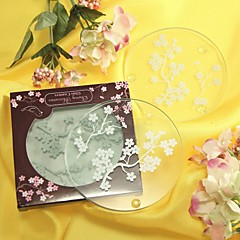 Cherry Blossoms Frosted Glass Coasters(set of 2)