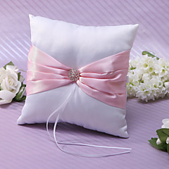 Ring Pillow In Pink Satin With Rhinestones And Sash