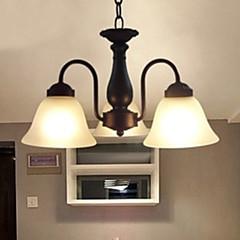 hanger, 3 lichte, traditioneel wit schilderij glas
