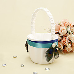 Blue Stripe With Peacock Feather Flower Basket Flower Girl Basket