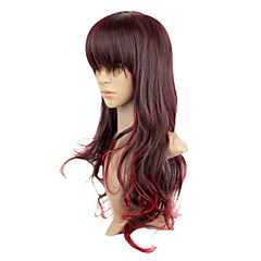 Capless Syntetisk Mørk Copper Red Color Long Curly parti Wig
