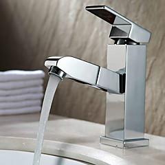 Zeitgenössisch Mittellage Mit ausziehbarer Brause with  Keramisches Ventil Einhand Ein Loch for  Chrom , Waschbecken Wasserhahn