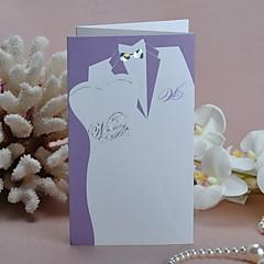 Z折り 結婚式の招待状 招待状カード クラシック 新郎新婦模様 カード用紙 折る時:11cm*18.5cm、開く時:11cm*30.5cm