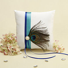 Blå Stripe Med Peacock Feather Hvit Ring Pillow