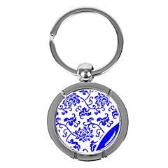 Rodada personalizado azul-e-branco porcelana Estilo Keychain - Flor