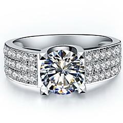 Anéis Mulheres Diamante Prata / Prata de Lei / Pedaço de Platina Prata / Prata de Lei / Pedaço de Platina Amor 5 / 6 / 7 / 8 / 8½ / 9 / 9½
