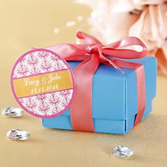 Personalizované Kulaté Favor Samolepky - Pink Floral Print (Set of 36)