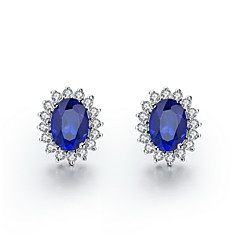 1.5 Carat Sapphire 925 Silver White Gold Plated SONA Diamond Stud Earring For Women jewelry