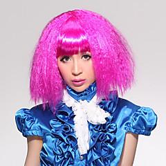 Full Bangs Puffy Corn-stigma stil Carnival Kort hår parykk (rosa)