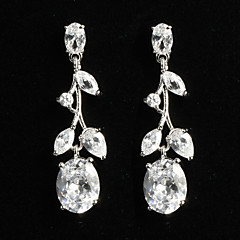 Elegant Platinum Plated With Zircon Plant Shaped Women's Drop Earrings