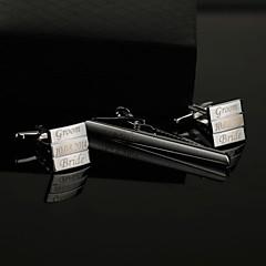 חתן שושבין חתן מתנות חתיכה / סט חפתים וסיכות עניבה קלסי מודרני חתונה יום שנה יומהולדת עסקים סגסוגת אבץ מותאם אישית חפתים וסיכות עניבה כסף