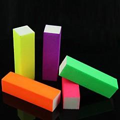 偽ネイルのヒント·アクリル用5PCSネイルアートの蛍光発光キャンディカラーバッファブロック