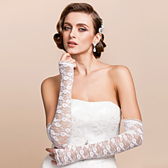 Opera Length Half Finger Glove Lace Bridal Gloves Spring Summer Fall Embroidery