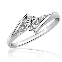 Ring Imiteret Diamant Kærlighed Elegant Zirkonium Kvadratisk Zirconium Platin Belagt Rund form Sølv Smykker ForBryllup Fest Fødselsdag