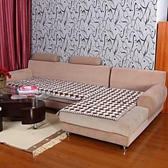 Elaine Cotton KF Check Pattern Bordure Coffee Sofa Cushion 333588