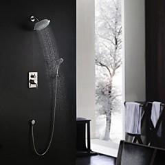 """Kortárs Fali Zuhany """"eső""""szórófej / Kézi zuhanyzót tartalmaz with  Kerámiaszelep Egy fogantyú három lyuk for  Nikkel bevonatos , Zuhany"""