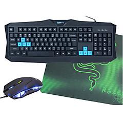 v90 usb wired teclado de jogo impermeável opcional + mouse + mouse pad