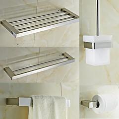 Kortárs Quadrate rozsdamentes acél 5 darab Fürdőszoba kiegészítők készlet