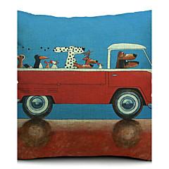 tegneserie hund chauffør bomuld / hør dekorative pudebetræk