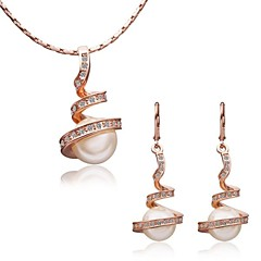 Women's Crystal Pearl 18K gold Fashion Screen Color Jewelry Special Occasion Birthday Gift