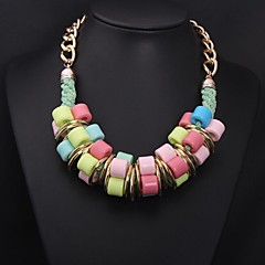 Women's Colored Geometric Large Gemstone Necklace