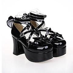 Sapatos Gótica / Doce / Punk Lolita Salto Alto Sapatos Laço 9.5 CM Preto Para Feminino Couro PU/Couro de Poliuretano