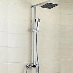 Kortárs / Modern Zuhany rendszer Vízesés / Kézi zuhanyzót tartalmaz with  Kerámiaszelep Egy fogantyú három lyuk for  Króm , Zuhany