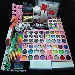 108PCS Acrylic UV Powder Glitter Glue Nail Art Tool Kit Set 12 Varied Colors of Pearl 1 Nail Clipper 1 Buffer Block 3D Acrylic Mold 1 Tweezer