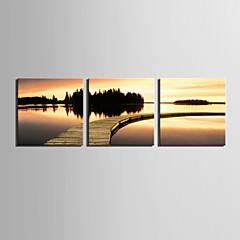 E-Home® Leinwand Kunst Sonnenuntergang am Wasser Satz von 3