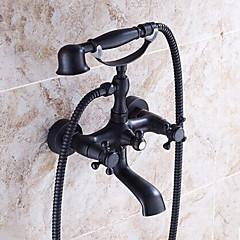 Hagyományos Kifolyócső és zuhany Kézi zuhanyzót tartalmaz with  Kerámiaszelep Két fogantyúval két lyukat for  Olajjal kezelt bronz , Kád