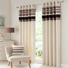 zwei Panele Window Treatment Modern / Rustikal / Neoklassisch / Europäisch , Solide / Streifen Wohnzimmer Leinen-Polyestergewebe Stoff