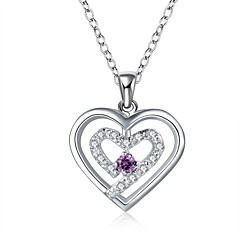 Cremation Jewelry 925 sterling silver Double Heart with Colorful Zircon Pendant Necklace for Women