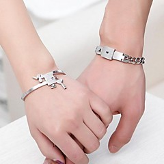Stainless Steel Key And Lock Bracelets With Gift Box